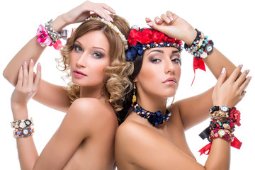 Beautiful girls with many ribbon accessories