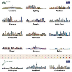 Australian and New Zealand city skylines. Map and flag of Australia and New Zealand. Navigation, location and travel icons.