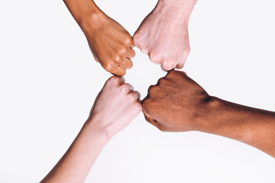 Friends Interracial Hands White Black Fist Together International Friendship United Race Equality Foreigner Education Help Concept