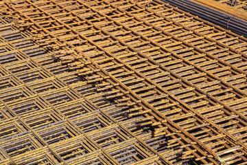 Betonstahlmatten auf einer Baustelle