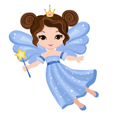 Beautiful little fairy in a blue dress with a magic wand. Vector illustration isolated on white background.