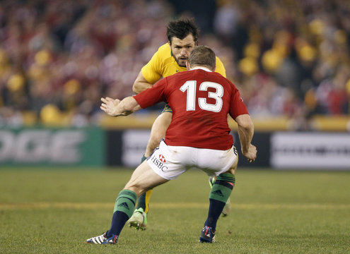 British and Irish Lions' Brian O'Driscoll lines up against Australia Wallabies' Adam Ashley-Cooper during their rugby union test match in Melbourne