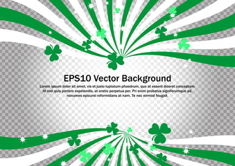 Green and White swirl strips with clovers on transparent background. Saint Particks Day Vector clip art for backdrop, banner, wallpaper and border decoration.