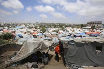 Sayidka refugee camp, for internally displaced people, is seen in the Howlwadaag area of Mogadishu