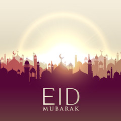 eid mubarak card with mosque silhouttes