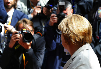 Germany's Chancellor Merkel arrives at a European Union leaders summit in Brussels