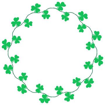 Clover border decoration for Saint Patrick's Day. Shamrock leaf on vine vector illustration.