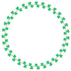 Shamrock circle wreath border decoration for Saint Patrick's Day. Clover leaf crossing vine vector illustration.