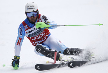 Ligety of the U.S. competes during the slalom run of men's Alpine Skiing World Cup Super Combined in Wengen