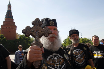 Extremist Russian Orthodox believers protest against the gay pride parade, unsanctioned by the city authorities, near Moscow's Kremlin