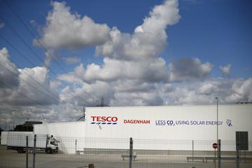 Tesco's new distribution facility is seen in Dagenham, east London