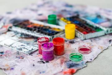 Watercolor aquarelle paints in box with palette