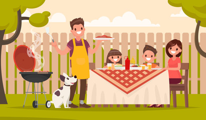Happy family at a picnic is preparing a barbecue grill outdoors. Vector illustration