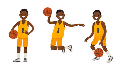 Set of an African American basketball player in various poses. Vector illustration