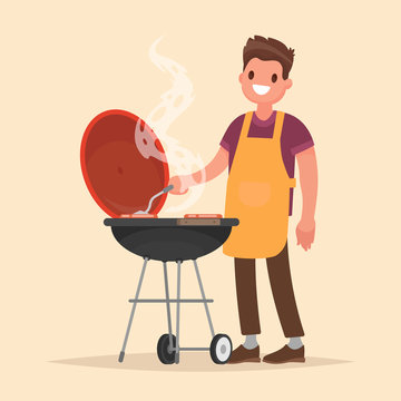 Man is cooking a barbecue grill. Fry meat and sausages on fire. Vector illustration