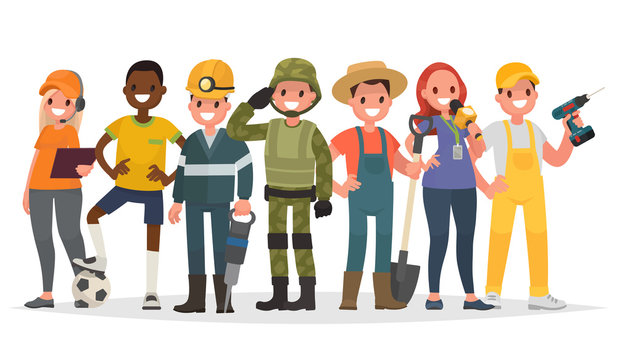 People of different professions. Military, journalist, miner, farmer and others