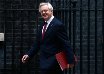 Britain's Secretary of State for Departing the EU David Davis arrives in Downing Street for a cabinet meeting, in London