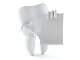 Tooth character with blank sheet of paper