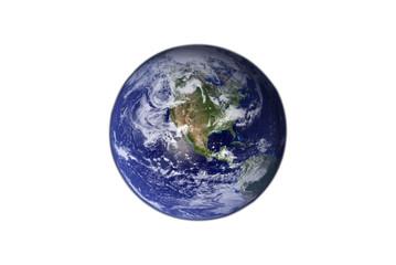 earth isolated on  blackground white Earth globe model, maps courtesy of NASA