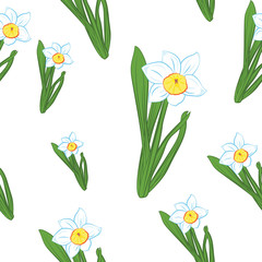 Seamless pattern. Green grass with blue narcissus flowers different sizes isolated on white. Vector illustration
