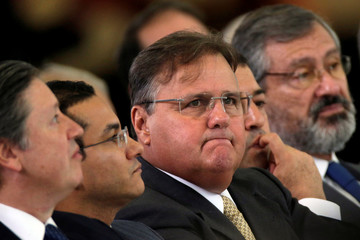 Brazil's Minister Chief of the Secretary Office of Government Geddel Vieira Lima looks on during launch ceremony of the Happy Child Program at the Planalto Palace in Brasilia