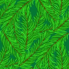 Foto op Canvas Tropische Bladeren Winter Fir Green Branches Seamless Pattern. Christmas Background