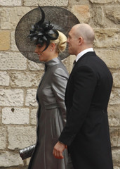 Zara Phillips and Mike Tindall arrive at Westminster Abbey before the wedding of Britain's Prince William and Kate Middleton, in central London