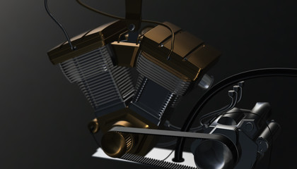 3d render of engine.