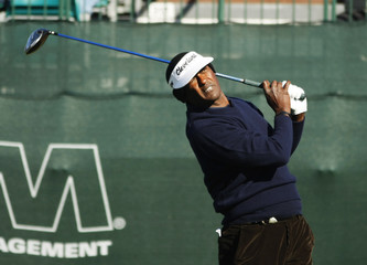 Singh of the Fiji Islands tees off on the tenth hole during the first round of play in the PGA Waste Management Phoenix Open in Scottsdale