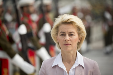 Germany's Defence Minister Von der Leyen takes part in a welcoming ceremony in Islamabad