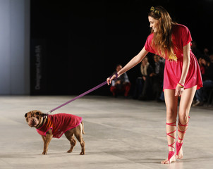 """A model walks with a dog presenting a creation by designers Reichardt and Schiavo during the so-called """"2013 Spring-Summer Caribbean Colour Paws"""" show in Buenos Aires"""