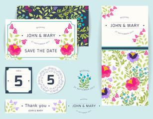 Set of templates for wedding, celebration. Invitation, thank you card, save the date cards with bright floral background. Vector illustration.