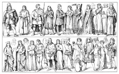 Medieval clothing, German traditional wear in XIV century, middle and upper class