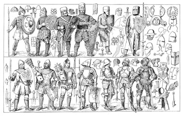 Art of war, clothing, armor and weapons through medieval times