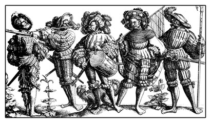 Lansquenet formidable and colorful mercenary soldiers on foot with drum,flute,weapons and standard, from Daniel Hopfer engraving, XVI century