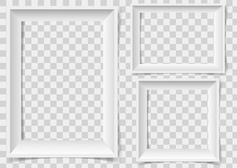 White picture frame with shadows isolated on vector transparent background.