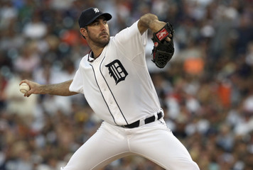Detroit Tigers starting pitcher Verlander throws against New York Yankees during  fourth inning of their MLB American League baseball game in Detroit