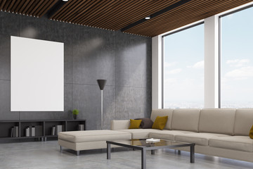 Gray living room iterior, side