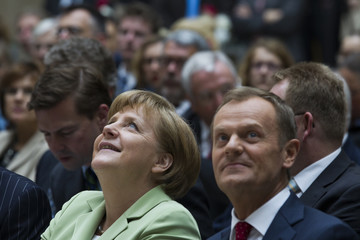 German Chancellor Merkel and Poland's Prime Minister Tusk attend Walther Rathenau Prize award ceremony in Berlin