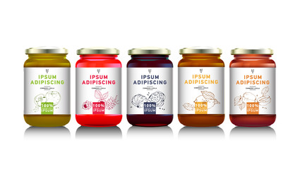 Glass jar with  jam, vector