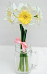 Bright yellow daffodils in vase on white wooden table, focus on one flower. Yellow and white narcissus. Greeting card