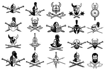 knight logo set. Skull in horned helmet, crossed axes, crossed swords, viking helmet, shield, . Logos can be easily disassembled into separate items.