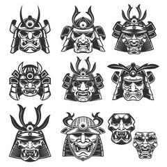 Set of samurai masks and helmets on white background. Design elements for logo, label, emblem, sign. Vector illustration