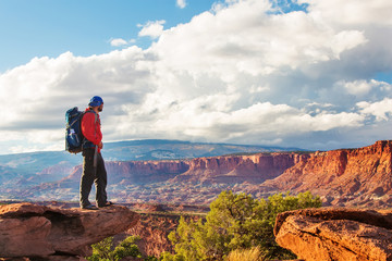 Hiker in Capitol reef National park in Utah, USA