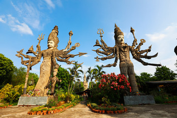 Nongkhai, Thailand - Sala Keoku, the park of giant fantastic concrete sculptures inspired by Buddhism and Hinduism. It is located in Nong Khai,Thailand