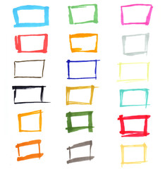 Set of hand drawn with marker colorful frames isolated on white background.