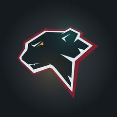 Black panther head. Mockup template animal symbol, logo, emblem or sticker for branding, printing, sports team. Vector illustration on black background.