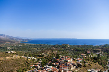 Amazing view to the sea from the top of a mountain in Chios island, Greece