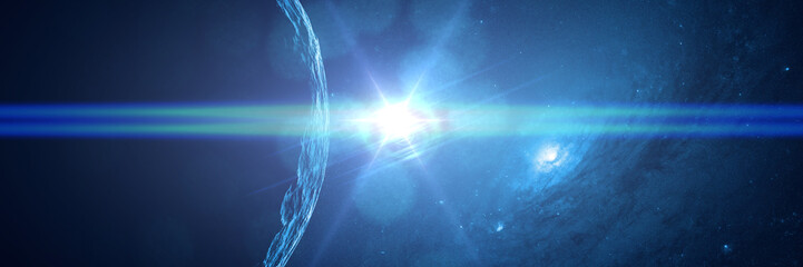 alien planet in front of a galaxy lit by a bright blue star