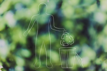 man with recycle symbol and bin, environment respect